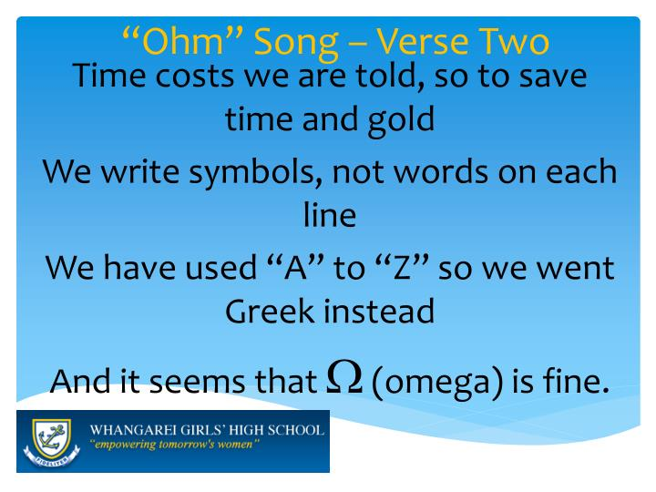 """Ohm"" Song – Verse Two"