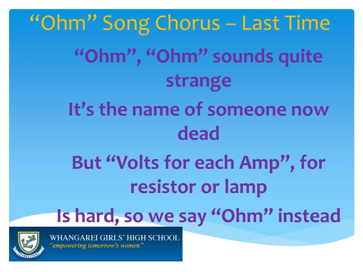 """Ohm"" Song Chorus – Last Time"