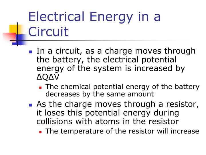 Electrical Energy in a Circuit