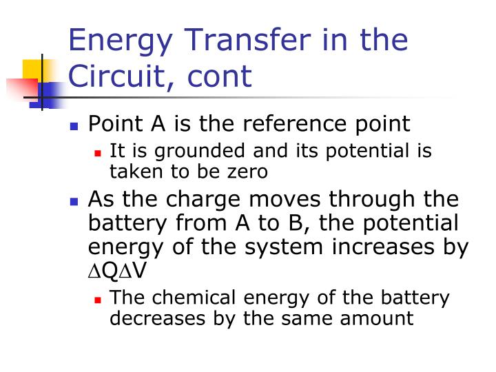Energy Transfer in the Circuit, cont