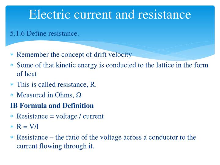Electric current and resistance