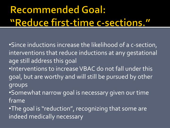 Recommended Goal: