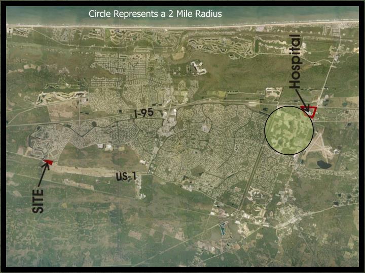 Circle Represents a 2 Mile Radius