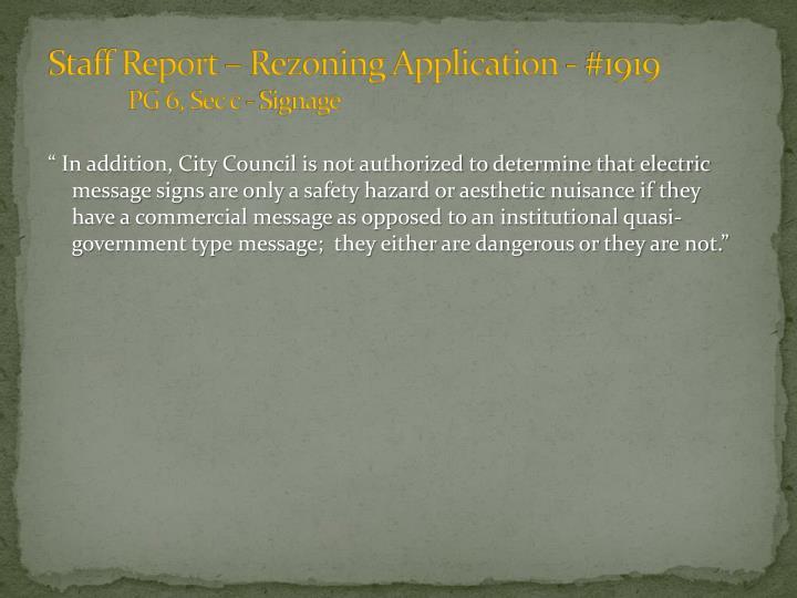 Staff Report – Rezoning Application - #1919
