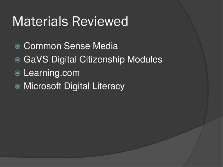 Materials Reviewed