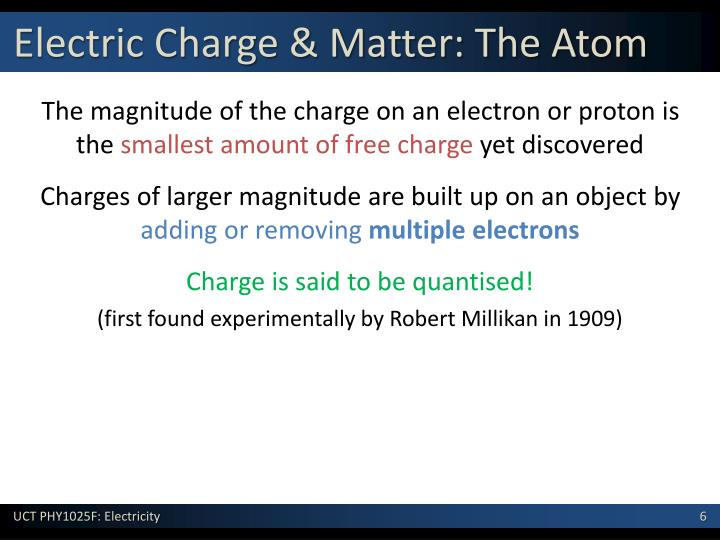 The magnitude of the charge on an electron or proton is the
