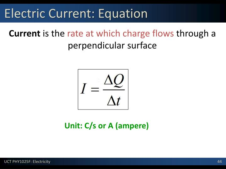 Electric Current: Equation