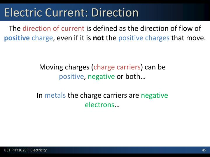 Electric Current: Direction