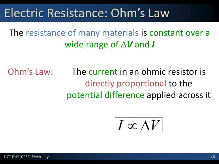 Electric Resistance: Ohm's Law