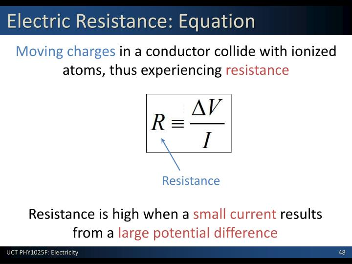 Electric Resistance: Equation
