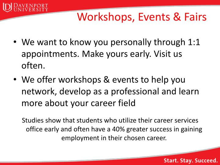 Workshops, Events & Fairs