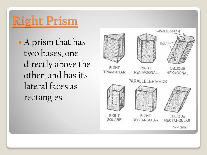 A prism that has two bases, one directly above the other, and has its lateral faces as rectangles.