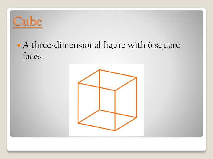A three-dimensional figure with 6 square faces.