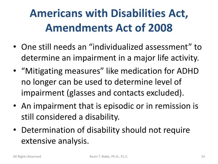 Americans with Disabilities Act, Amendments Act of 2008