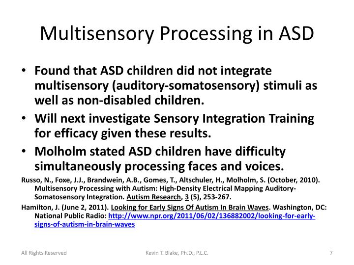 Multisensory Processing in ASD