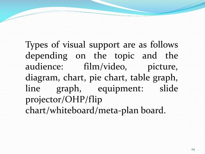 Types of visual support are as follows depending on the topic and the audience: film/video, picture, diagram, chart, pie chart, table graph, line graph, equipment: slide projector/