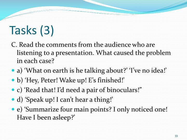Tasks (3)