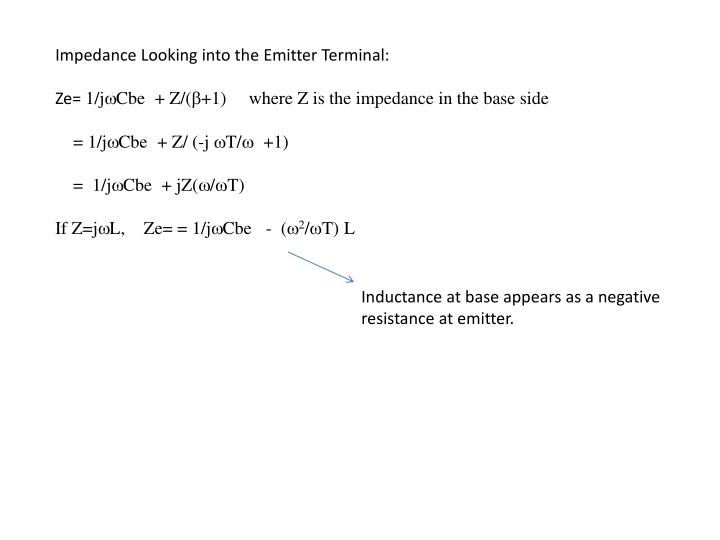 Impedance Looking into the Emitter Terminal: