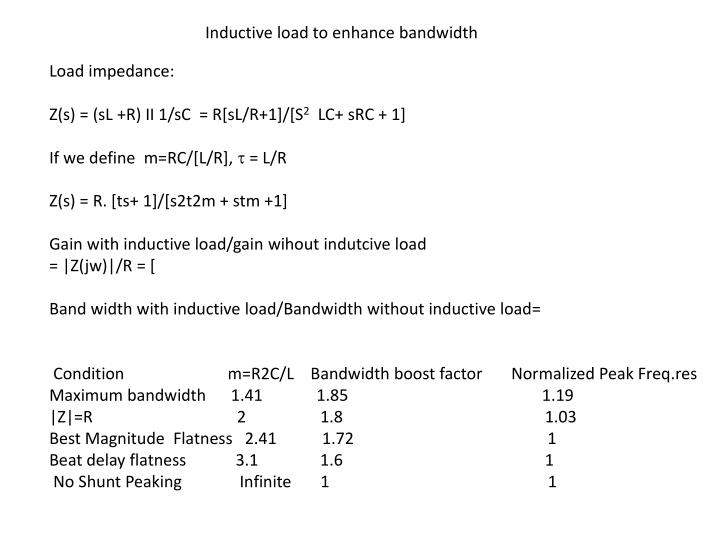Inductive load to enhance bandwidth
