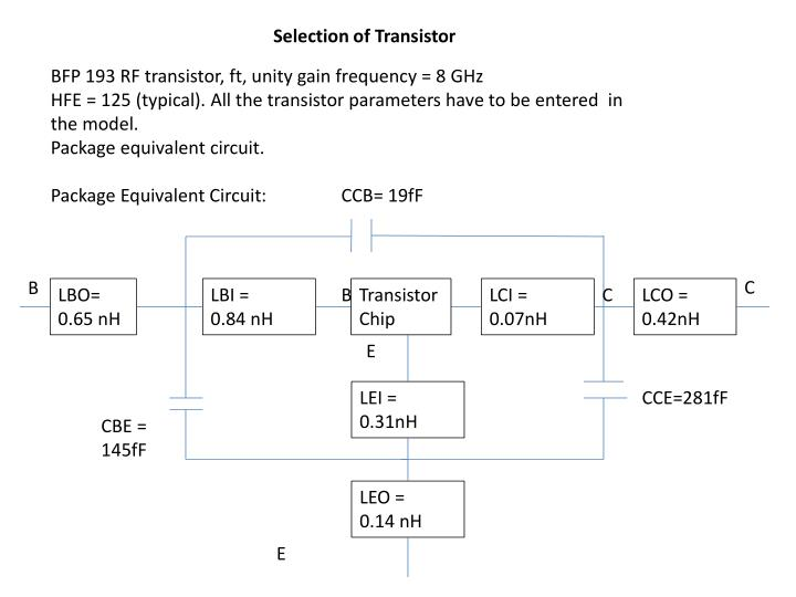 Selection of Transistor