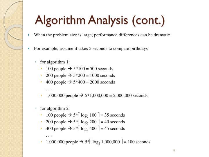 Algorithm Analysis (cont.)