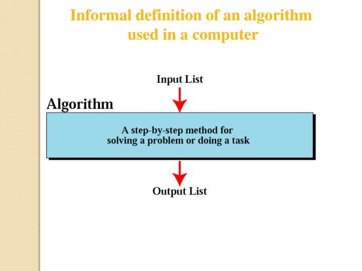 Informal definition of an algorithm
