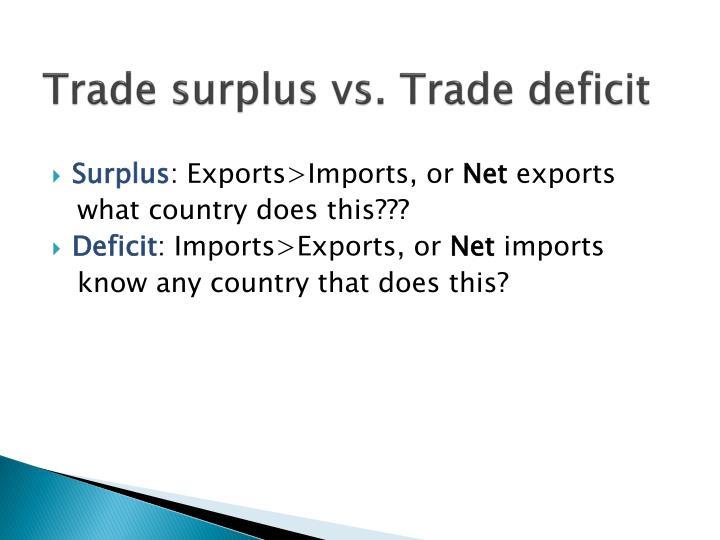 Trade surplus vs. Trade deficit