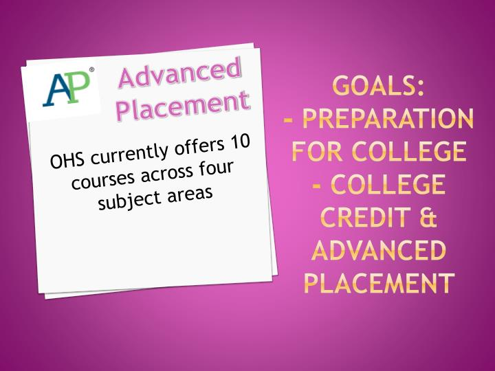 Goals preparation for college college credit advanced placement