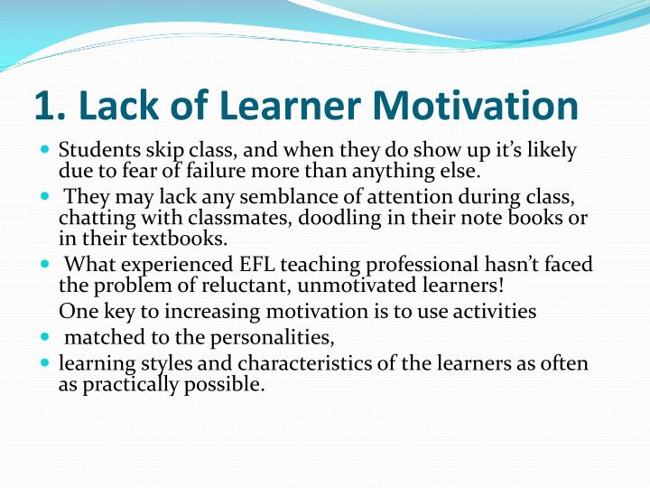 1. Lack of Learner Motivation