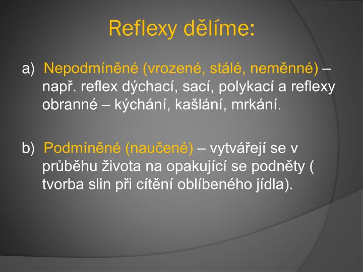 Reflexy dělíme: