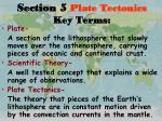 section 5 plate tectonics key terms