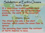 subduction at earth s oceans