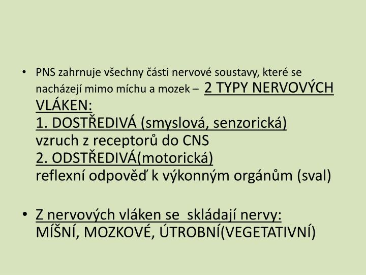 PNS zahrnuje všechny části nervové soustavy, které se nacházejí mimo míchu a mozek –