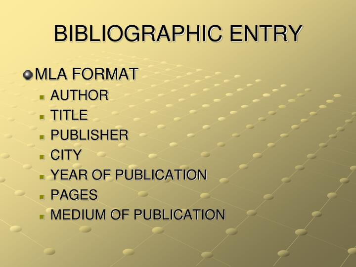 Bibliographic entry