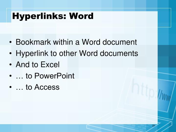 Hyperlinks: Word