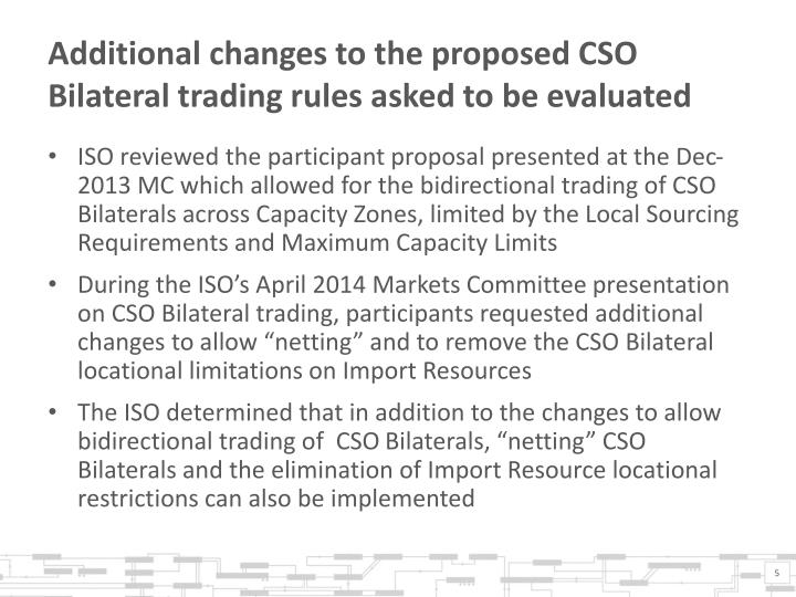 Additional changes to the proposed CSO Bilateral trading rules asked to be evaluated