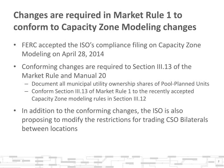 Changes are required in Market Rule 1 to conform to Capacity Zone Modeling changes