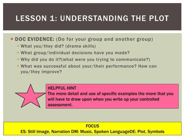 Lesson 1: Understanding the plot