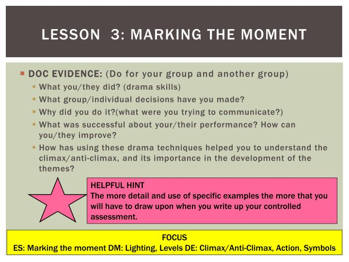 Lesson  3: Marking the moment