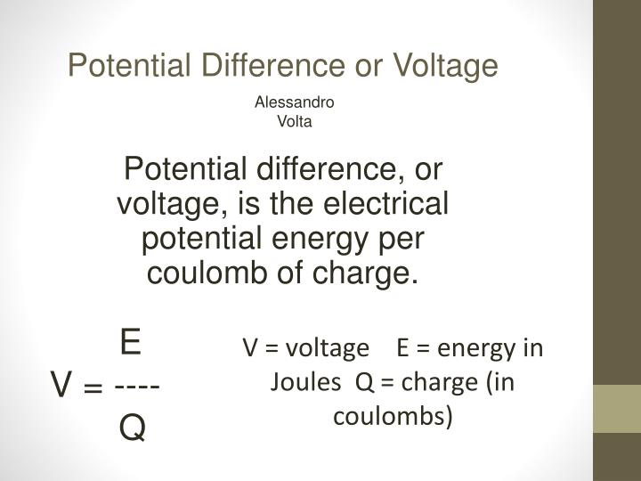 Potential Difference or Voltage