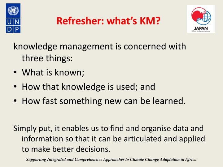 Refresher what s km