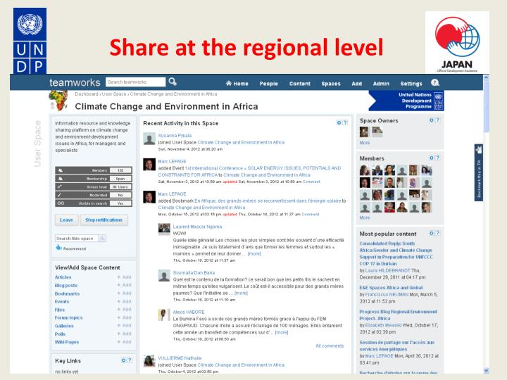 Share at the regional level