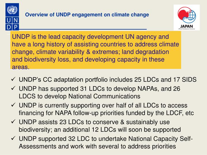 Overview of UNDP engagement