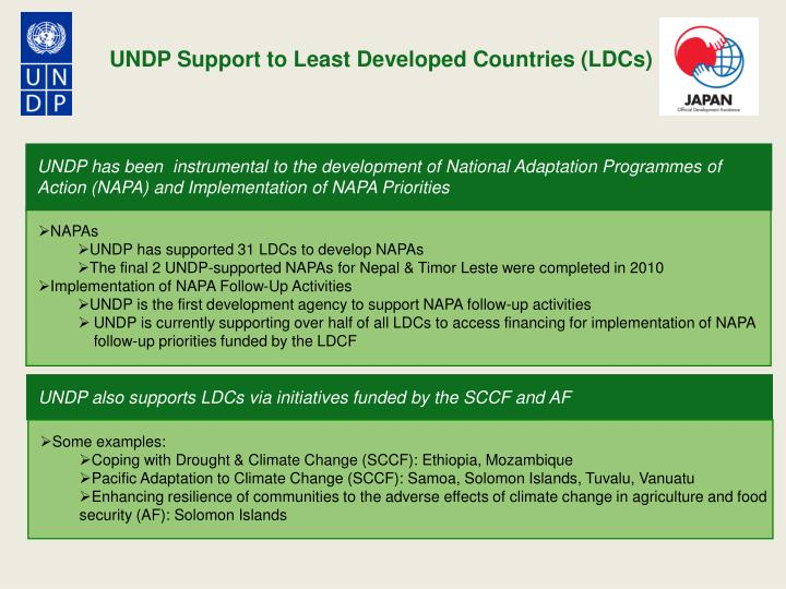 UNDP Support to Least Developed Countries (LDCs)