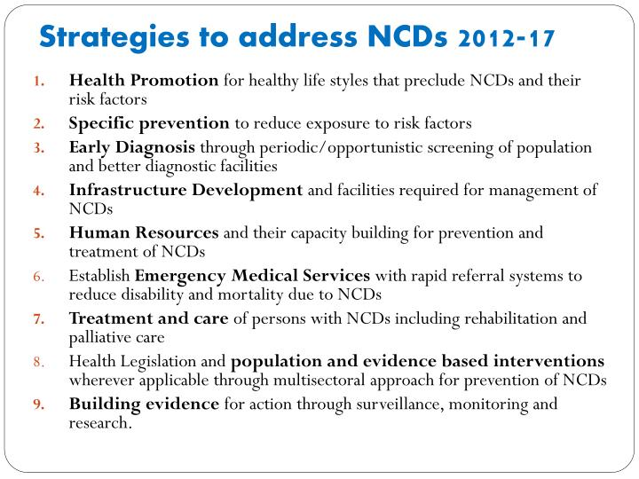 Strategies to address NCDs
