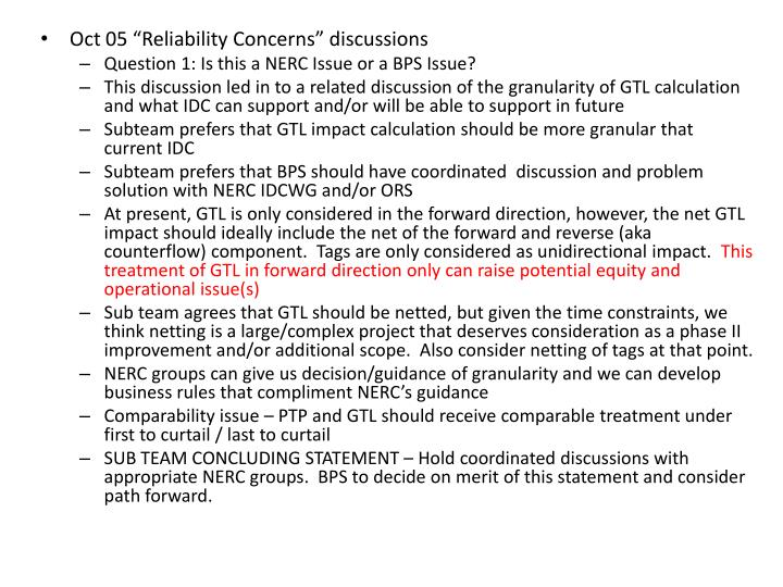 """Oct 05 """"Reliability Concerns"""" discussions"""