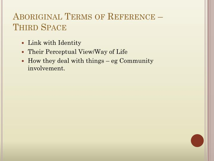 Aboriginal Terms of Reference – Third Space