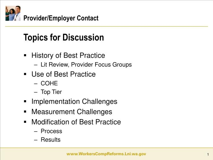 Provider employer contact