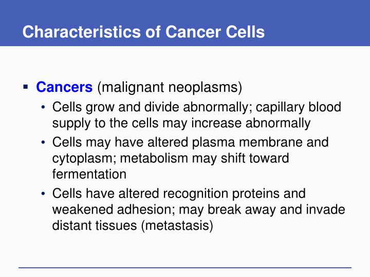 Characteristics of Cancer Cells