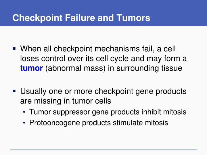 Checkpoint Failure and Tumors